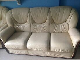 Cream leather sofa and chairs - free too good home
