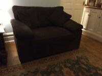 Bed Settee, Brown chunky cord fabric covers. Covers can be removed for cleaning. Good Condition