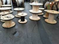 Wooden cable drums various sizes reclaimed for up cycle into tables or displays etc