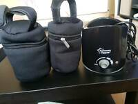 Tommee tippee bottle warmer and 2 bottle bags
