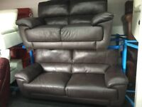 ScS New/Ex Display Leather 3 Seater Sofa + 2 Seater Sofa