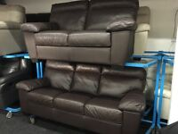 ScS New/Ex Display Brown Leather 3 +2 Seater Sofas