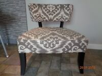 Brown and Cream patterned cocktail chair for sale