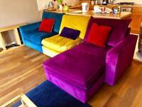 Lovely L shaped velvet sofa