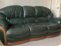 Three Seater, Two Seater Sofa And Chair In Dark Green Leather