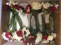 9 x long stemmed silk table flowers
