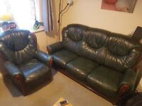 Leather sofa and armchair £50