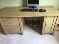 Double pedestal office desk - oak veneer