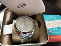 Unisex sliver fossil watch