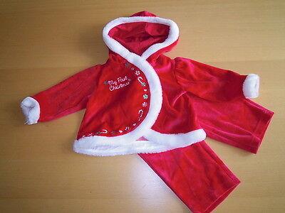 Mädchen Set Anzug 2tlg Samt + Kapuze MY FIRST CHRISTMAS 68/74 (Baby Christmas Anzug)