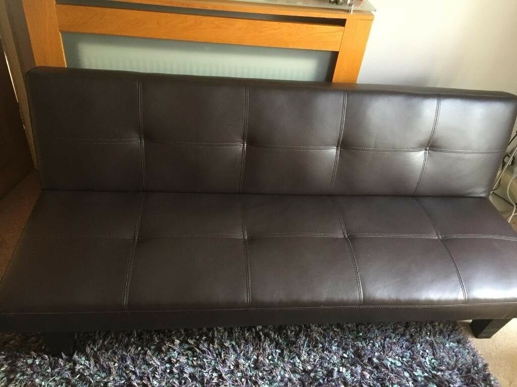 Brown Faux Leather Futon Sofa Bed Lounge In Poole Dorset Gumtree