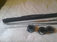 Fishing rod 4 piece and 2 reels and 1 spool with 3 lines sinktip intermediate and floating