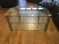 Glass TV stand.