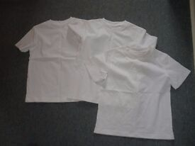 3 x White Children's PE. T-shirts. Size 5. Never Been Worn.