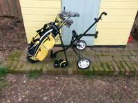 Junior golf clubs with bag