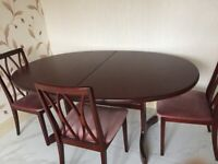 G Plan Oval Dining Table & 4 Chairs