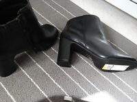 PEEP TOE BOOTS, SIZE 6 BRAND NEW FROM M &S IN BLACK