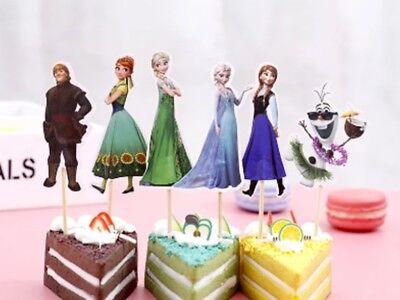 24 Stück Frozen Anna und Elsa Olaf Muffinstecker für Muffins Kuchen Torte Deko