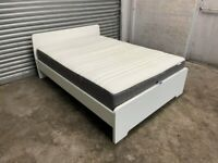 FREE DELIVERY ASKVOLL IKEA WHITE DOUBLE BED & MATTRESS GREAT CONDITION