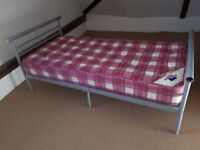 Single Grey Metallic Bed including Kozee Sleep Mattress, V.g.c.