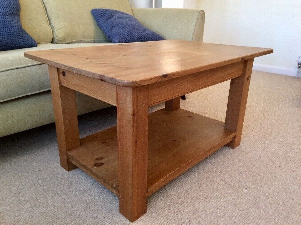 Solid Pine Rectangular Coffee Table With Magazine Shelf Country Cottage