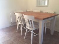 Country solid wood dining table and 6 chairs. Detachable legs