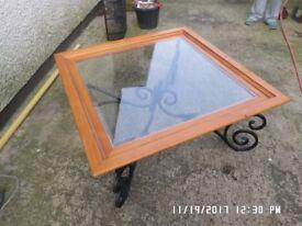 Large coffee table 40inch sq 55inch diagonal 18inch high,,,black metal