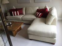 Ivory Large L Shaped Leather Sofa