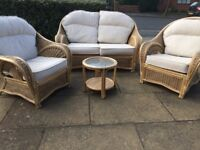 3 Piece Cane Conservatory Set with Coffee Table