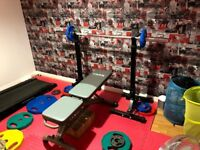 York Weight Bench + 100KG Olympic Weights + Olympic Barbell + 20KG Dumbbells + Squat Stands - Set