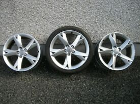 3 GENUINE 19 INCH AUDI A5/A6 S LINE Y TYPE ALLOYS 8.5J x 19 x ET32, ONE WITH 255/35 TYRE, 6mm TREAD