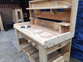 Hand made children's mud kitchen