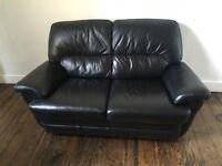 2 black leather sofas excellent condition