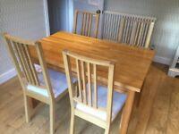IKEA Ekensberg solid oak dining table and 4 IKEA Borje solid oak dining chairs
