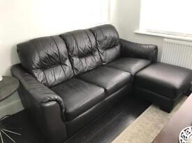DFS Leather Dark Brown Sofa Set