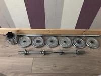 Weights bars dumbbells plates