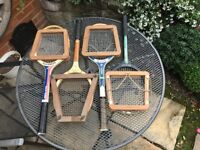 Tennis Rackets, old wooden complete with Press, set of four, two Slazenger two Dunlop