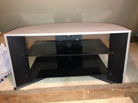 Grey and black Tv stand