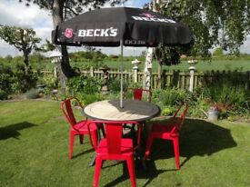 """GARDEN / PATIO SET - TABLE WITH 4 TOLIX CHAIRS + """" BECKS """"PARASOL AND BASE -"""