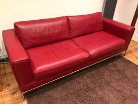 IKEA Arild Red Leather 3 Seat Sofa For Sale
