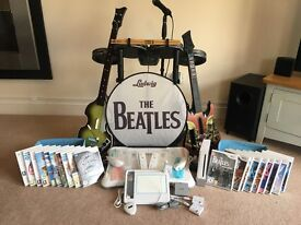 Nintendo Wii *Huge Bundle*Beatles RockBand*Metallica Guitar Hero*Wii Fit Board*uDraw Game Tablet*etc