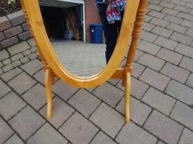 Pine free standing mirror in good condition