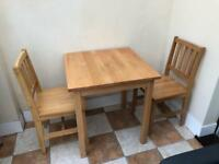 Wooden Square Table & 2 Chairs