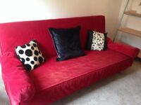 RED SOFA BED WITH FRAME MECHANISM FOR SALE