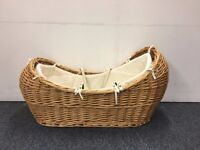 Wicker Moses Basket Crib With Mattress