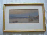 1881 Signed Dated Watercolour Painting Seascape British Artist F Tucker framed