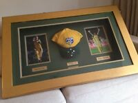 A framed Ricky Ponting 2003 World Cup winning cap and photo signed bybbith Ricky Ponting & Brett Lee
