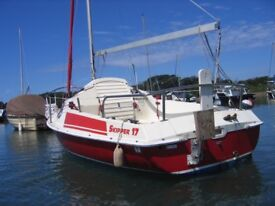 Skipper 17 Sailing Boat trailer sailer furling jib roller reefing twin blade keel good harbour boat