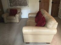 LEATHER 4 SEATER SOFA & CHAIR £145