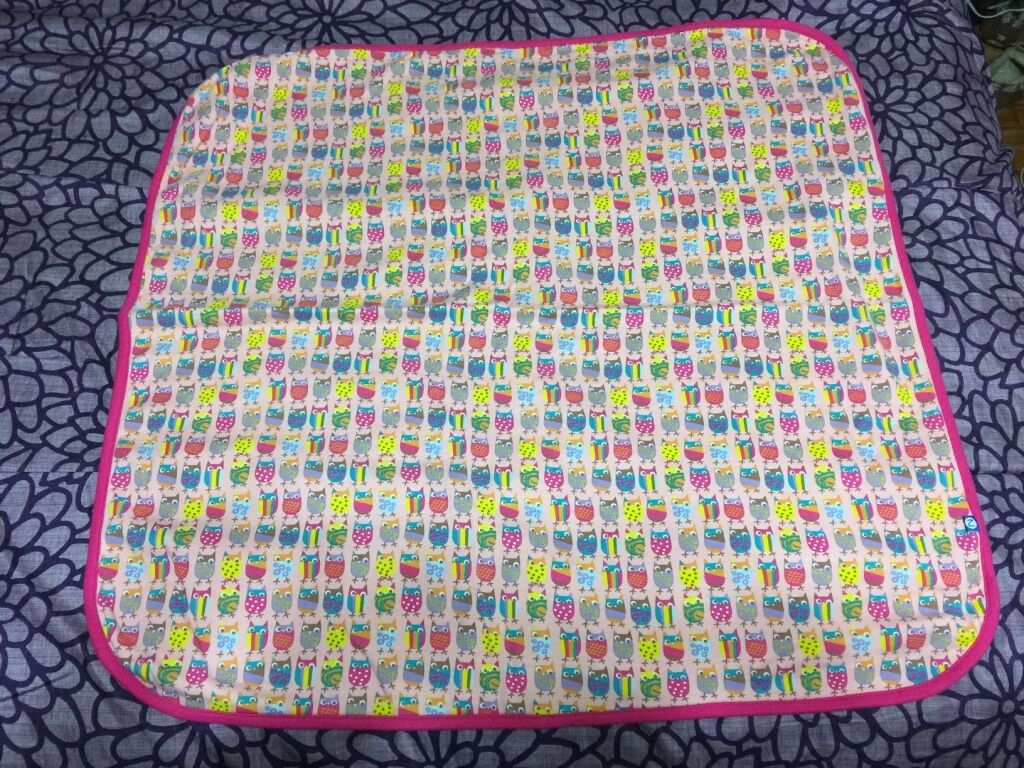 Zutano Pink Owl Receiving Blanket 27 Square Solid Back Bird Print Front Lovey - $25.99